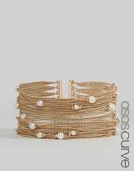 Asos Curve Fine Chain And Faux Pearl Multirow Bracelet Gold