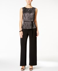 Connected Metallic Crinkled Belted Jumpsuit Black Silver