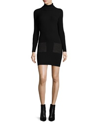 Milly Ribbed Turtleneck Dress W Suede Pockets