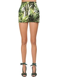 Dolce And Gabbana Jungle Printed Cotton Drill Shorts Green