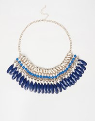 Oasis Teardrop Facet Woven Necklace Navy Blue