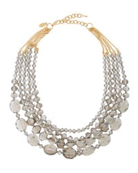 Emily And Ashley Multi Strand Crystal Statement Necklace Grey