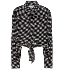 Saint Laurent Cropped Polka Dot Shirt Black