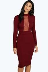 Boohoo Mesh Panel Long Sleeve Midi Bodycon Dress Berry