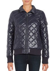 French Connection Quilted Zip Front Coat Blue