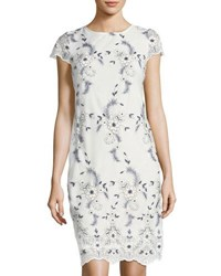 Donna Ricco Cap Sleeve Embroidered Mesh Dress White Blue