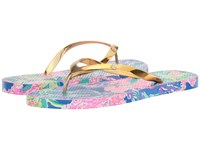 Lilly Pulitzer Pool Flip Flop Multi Fan Club Shoe Slide Shoes Gold