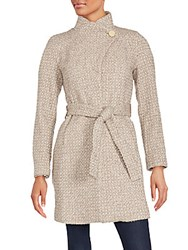 T Tahari Isabelle Asymmetrical Wool Blend Coat Tan