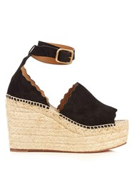 Chloe Lauren Suede Espadrille Wedge Sandals Black