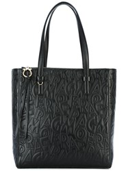 Salvatore Ferragamo Lettering Shopping Tote Bag Black