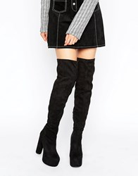 Public Desire Cienna Mega Platform Over The Knee Boots Black Mf