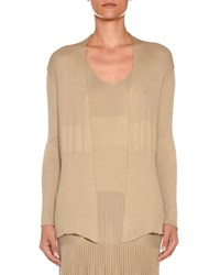 Agnona Cotton Silk Ribbed Open Front Cardigan Beige