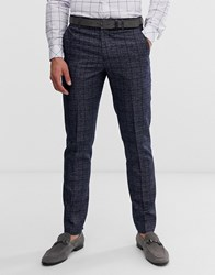 Penguin Orginal Slim Fit Dark Navy Check Suit Trouser