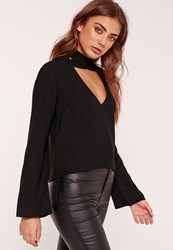 Missguided Flared Sleeve V Neck Cross Choker Neck Blouse Black