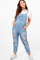Plus Anna Ultra Ripped Light Wash Dungaree