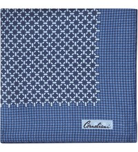 Corneliani Contrast Print Reversible Silk Pocket Square Navy