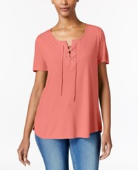 Calvin Klein Jeans Lace Up Split Neck T Shirt Shell Pink