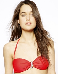South Beach Faye Bandeau Bikini Top With Jewel Parrot Nectarine