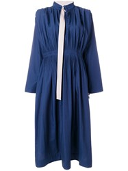 Cedric Charlier Gathered And Pleated Midi Dress Cotton Polyester Blue