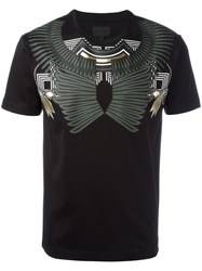 Les Hommes Geometric Chest Print T Shirt Black
