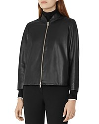 Reiss Beau Cropped Leather Jacket Black