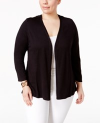 Alfani Plus Size Lace Back Open Front Cardigan Only At Macy's Deep Black