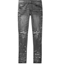Amiri Thrasher Minus Skinny Fit Distressed Bleach Splattered Stretch Denim Jeans Gray