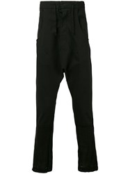 Andrea Ya'aqov Drop Crotch Cropped Trousers Men Cotton Linen Flax M Black