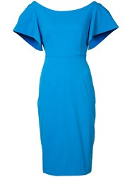 Milly Fitted Cocktail Dress Women Cotton Polyester 4 Blue