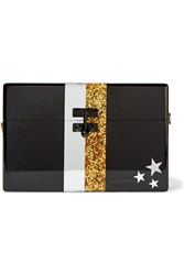 Edie Parker Small Trunk Stars And Stripes Glittered Acrylic Box Clutch