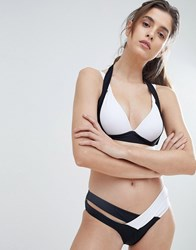 Amy Lynn Monochrome Bikini Set With Crossover Bikini Bottoms White Black