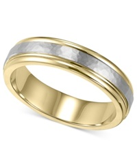 Macy's Men's 14K Gold And 14K White Gold Ring Two Tone Hammered Wedding Band