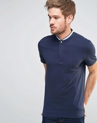 Selected Homme Round Tip Collar Short Sleeve Polo Navy