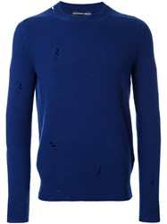 Alexander Mcqueen Distressed Jumper Blue