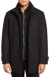 Marc New York Men's Big And Tall By Andrew Stafford Pressed Wool Blend Car Coat With Inset Bib Black