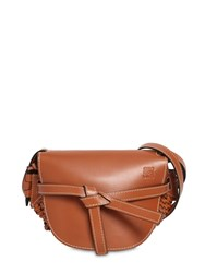 Loewe Gate Small Leather Bag W Woven Details Tan