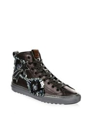 Coach Embellished Leather High Tops Gunmetal
