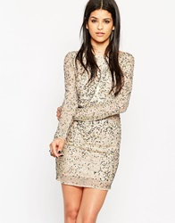 Rock And Religion Embellished Long Sleeve Bodycon Dress With Scoop Back Nude