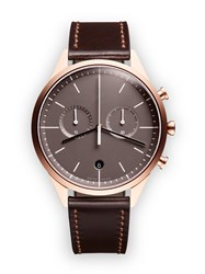 Uniform Wares C39 Women's Chronograph Watch In Pvd Rose Gold With Brown Cordovan