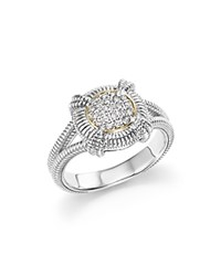 Judith Ripka 18K Yellow Gold And Sterling Silver Fontaine Pave Diamond Ring White Silver