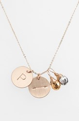 Women's Nashelle Pyrite Initial And Arrow 14K Gold Fill Disc Necklace Gold Pyrite Silver Pyrite P