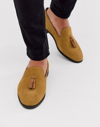 House Of Hounds Pointer Loafers In Tan Embossed Suede