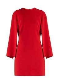 Givenchy Round Neck Long Sleeved Cady Mini Dress Red