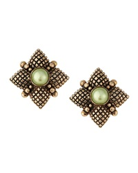 Stephen Dweck Green Pearl Center Quilted Button Earrings