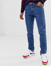 Weekday Sunday Relaxed Tapered Jeans In Mid Blue