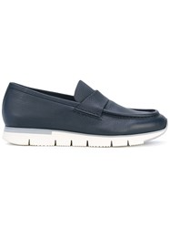 Santoni Chunky Sole Penny Loafers Men Leather Rubber 9 Blue