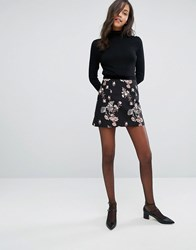 Miss Selfridge Floral Jacquard Mini Skirt Black Navy