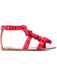 Tory Burch Ankle Strap Tassel Sandals Red