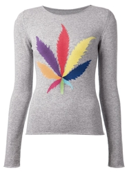 Lucien Pellat Finet Intarsia Leaf Sweater Grey