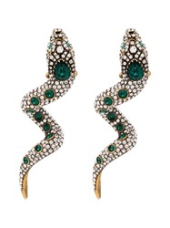 Gucci Snake Motif Crystal Embellished Earrings Green